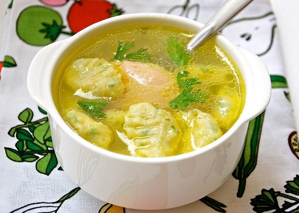 рецепт супа с клецками на курином бульоне рецепт